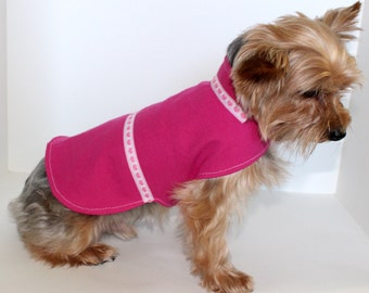 Pink Denim Dog Jacket, Small Hot Pink with Hearts Trim, In Stock and ready to ship, Fashion Dog Clothes