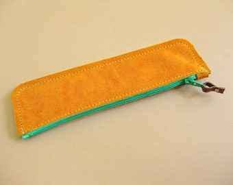 Rainbow pouch - Turmeric suede leather with green zip - pen case, cosmetics case, coin purse
