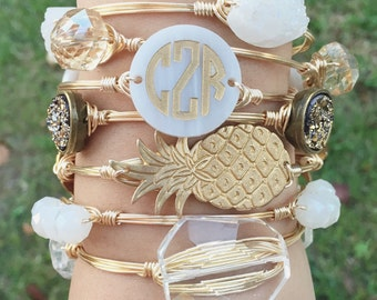 Circle Font Monogram Disc Wire Bangle, Monogram Bracelet, Monogram, Bourbon and Boweties, Moon & Lola Inspired