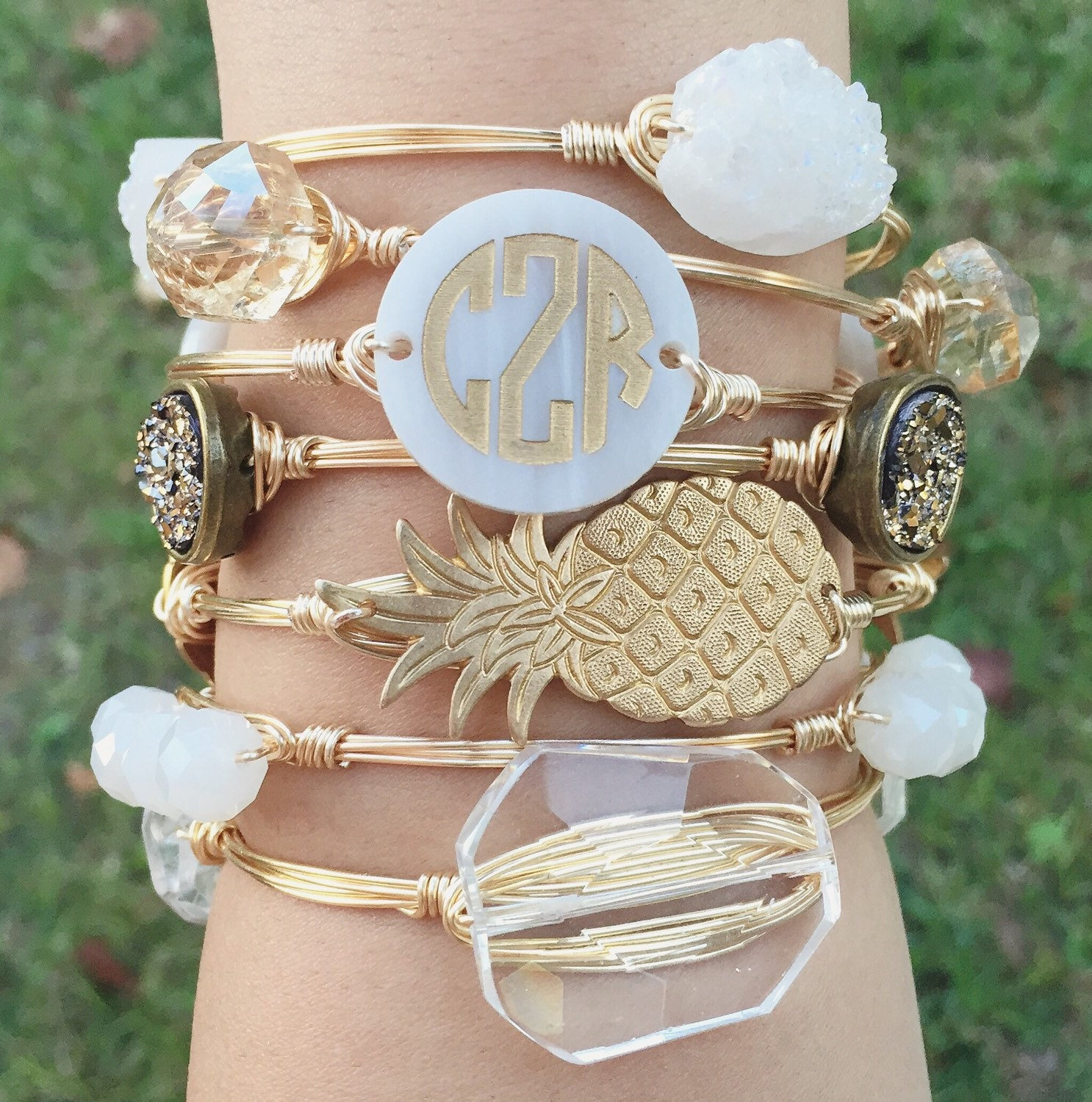 Circle Font Monogram Disc Wire Bangle Monogram Bracelet