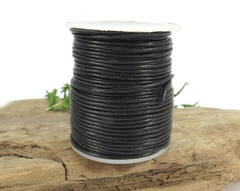 Black Leather Cord, 1mm Leather Cord, 5 Yards Leather Cord, Colored Leather Cord, Leather Necklace Cord, Item 640ct