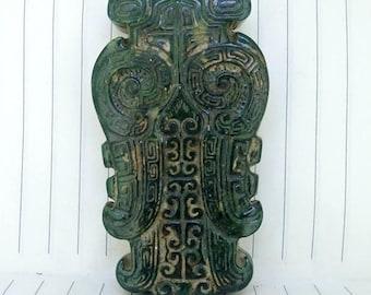 Antiqued Jade Pendant Carved Green Decorative pattern Amulet Antique Design Talisman