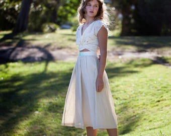 SALE - Full Skirt - 'Sweet Tumbleweed' Skirt with Pockets; Silk/Linen with 'For The Roses' contrast