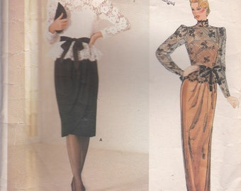 1980s Vogue American Designer Pattern - Kasper 1189 Top and Dress Size 12 Cut and complete