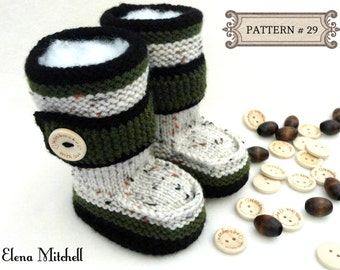 Knitting PATTERN Baby Booties Baby Shoes Knitted Baby Uggs Baby Boy Baby Girl Boots Newborn Infant Booties 0 - 18 months PATTERN ( PDF )