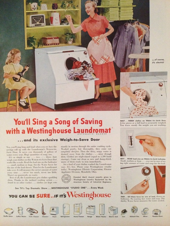 Vintage Westinghouse Washing Machine Ad Paper Ephemera Taken From A 1951 Ladies Home Journal TheVintageEmpress On Etsy Studio