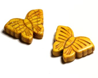 2PC - butterflies yellow 4558550029492 26mm synthetic Turquoise beads