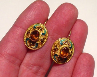 Sterling Silver 14K Filigree Floral ENAMEL Madeira Citrine Leverback EARRINGS, Signed