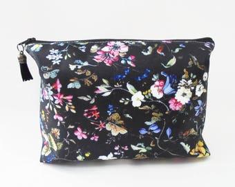 Dumpy bag, Black Ditsy Floral print, boxy wash bag, cosmetic bag, zip bag, make up bag.