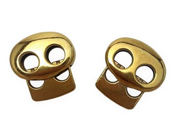 Gold color metal toggle spring stop double holes string cord locks-high quality