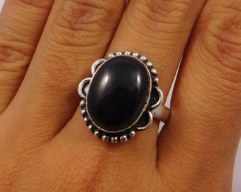 Black Onyx .925 Silver Plated Ring Size 8.50 Jewelry JT270