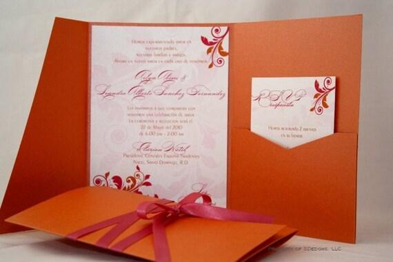 Fuschia And Orange Wedding Invitations: Orange And Pink Wedding Invitation Gorgeous Swirls Floral