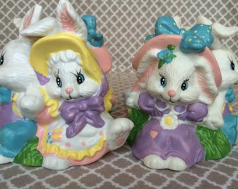 Vintage Giftco Easter Bunny Candle Holder Pair