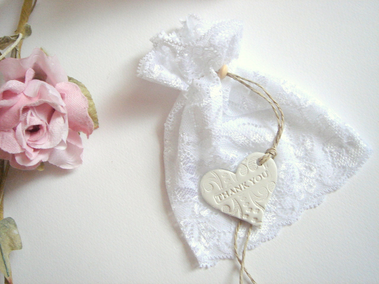 50 Wedding Favor lace Bags Favor Bags with clay tags/Thank