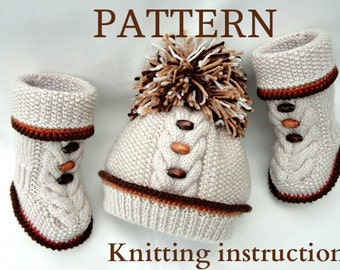 Knitting PATTERN Baby Knitting Patterns Baby Shoes Baby Booties Baby Set Baby Hat Pom-Pom Baby Beanie Pattern Baby Boy Baby Girl Boots PDF