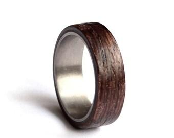 Stainless Steel Wedding Ring, Mens Wedding Band, Wood Mens Ring, Wenge Wood Wedding Ring