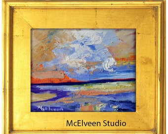 Claire McElveen Original Plein Air Oil landscape Small Oil Painting 8 x 10 Southern Abstract Impresssionism