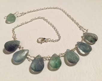 Fluorite necklace, fluorite silver necklace, gemstone necklace, green necklace, unique gift, gift ideas, gift for her, fluorite jewellery,