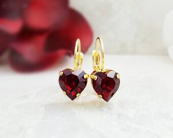 Ruby Heart Earrings - Red Crystal Earrings - Swarovski Crystal Red Heart Earrings - Heart Earrings Gold - Romantic Gifts for Women E3435