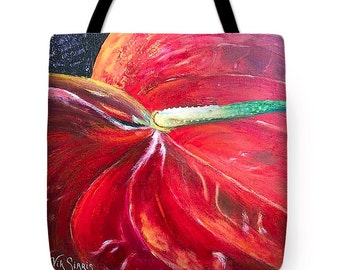 Art tote bag, Market tote bag,Christmas Easter gift tote, shopping tote, office tote bag Anthurium tote bag both side image tote bag