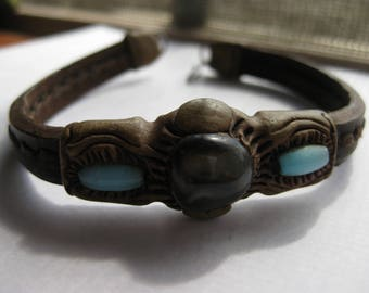 Artisan Leather Sculpted Bracelet