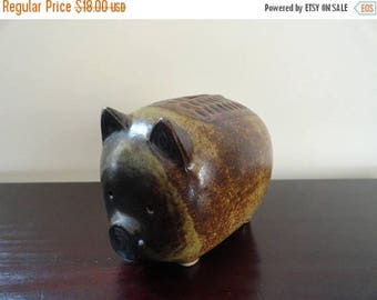 SALE Vintage Piggy Bank Handpainted Pottery