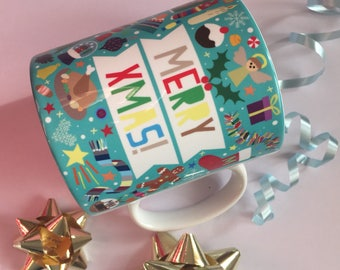Fun, Colourful Merry Xmas Mug! - Cwpan 'Merry Xmas!' Saesneg, lliwgar!