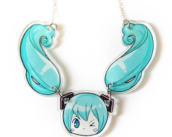 Hatsune Miku Twin Tail Acrylic Necklace