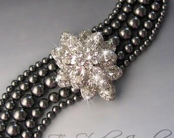 Dark Grey Pearl Bridal Wedding Bracelet with Crystal Brooch - CAROLYN