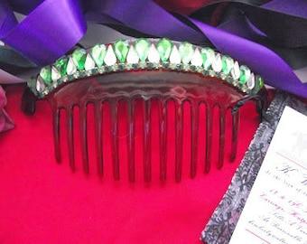 Item HA-0045 - Peridot, Clear, and Emerald Rhinestone Hair Comb Regency Diadem Tiara, Harlequin Tiara, Regency Tiara, Georgian Tiara