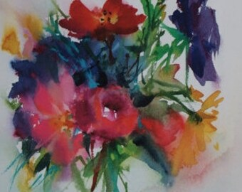 "Postcard. Reproduction watercolor flowers ""between seasons"" greeting card"