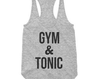 Gym and Tonic Grey (heather) RacerBack Scallop Bottom Tank for Women