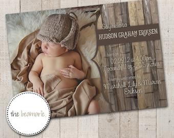 Digital Baby Birth Announcement -- Woodland