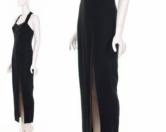 90's Black Long Bodycon Dress Beaded Halter Maxi Dress High Slit Supermodel Dress Small Medium