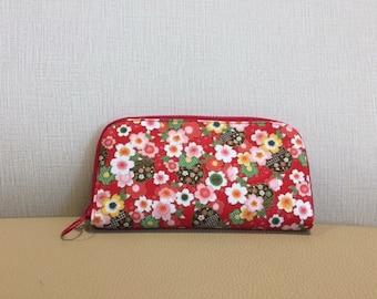 Handmade Women's Long Wallet Asia Inspired Patterns Japanese purse Japan wallet Clutch sakura wallet cherry blossom