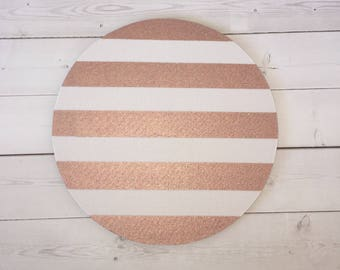 Rose gold Mouse Pad mousepad / Mat - round rectangle metallic rose gold stripes blush Computer Accessories Desk Coworker Gifts