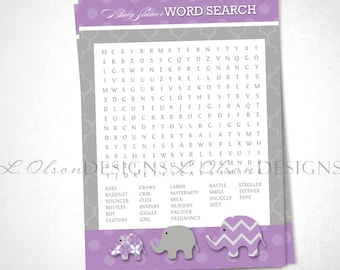 Elephant Baby Shower Word Search Game - Purple - DIY Printable - INSTANT DOWNLOAD