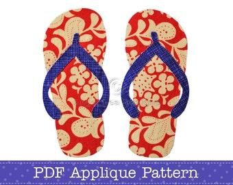 Thongs Applique Template Flip Flops Sandals PDF Applique Pattern
