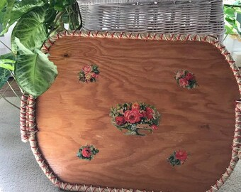 Kitschy Vintage Handmade Wooden Serving Tray