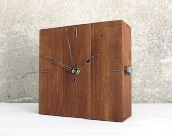Wood Clock, Cube Decor, Square Clock, Design Wall Clock, Box Clock, Rustic Home Decor, Home Gift, Unique Wood Clock, Modern Wall Clock