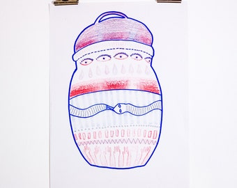 Uroboros Vessel - Risograph Printed artwork of 2 Layer Red and Blue Riso print A3 illustration on recycled paper
