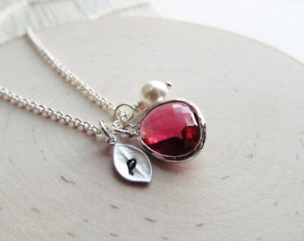 July Birthstone Necklace, Ruby Necklace, Birthstone Necklace with Initial, Birthstone Jewelry, July Birthday Jewelry, Personalized Necklace