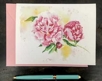 Peony Card, Floral Stationery, Watercolor, All occasion