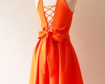 Tangerine Dress Orange Crisscross Dress Evening Dress Prom Homecoming Dress Swing Skirt Dancing Dress Low Back Dress