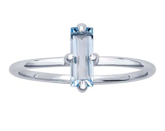 Topaz Baguette 14K Gold Ring, White Gold, Sky Blue Topaz Gemstone, Gifts for Her, Solitaire, 14K White Gold Ring
