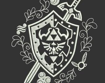 Legend of Zelda Hylian Shield With Master Sword Machine Embroidery design