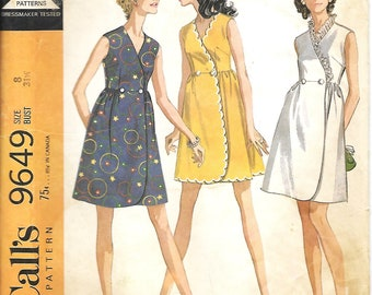 1960's McCall's 9649 Misses And Junior Wrap Dress Sewing Pattern, Size 8, Bust 31 1/2