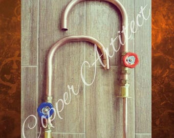 Rose Gold Copper Single Taps (pair) with Red & Blue Handles - 22mm Pipe