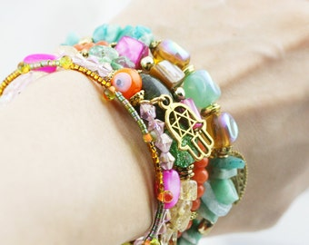 Tropical bliss 5 tiers bangle (MW revised version) - dyed jade, amazonite, and serpentine