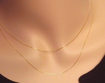 14k Gold Layered Necklace Set Solid 14k Solid 14kt Yellow Gold Simple Dainty Petite AU585 585
